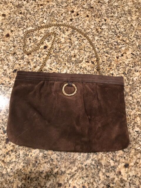 Morris Moskowitz Genuine Leather Suede Brown Purse With Gold Chain Vintage a29412aab49dd