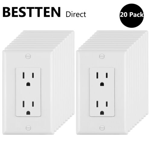 20 Pack BESTTEN 15A//125V Decorator Outlet Electrical Wall Sockets UL White