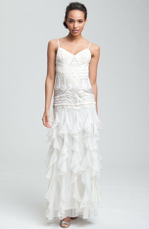 Sue Wong Embellished Ruffle Skirt Gown (size 6)