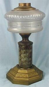 Antique-Kerosene-Lamp-Composite-Frosted-Glass-Font-Marble-Stem-Cast-Iron-Base