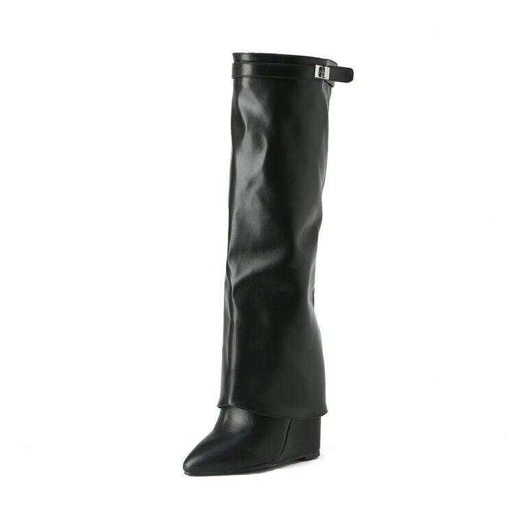 Reino Unido Mujeres Cuña Tacón Alto botas Mitad Mitad Mitad de Pantorrilla Rodilla Alto Puntera Puntiaguda Casual Zapatos Hebilla eaa9b3
