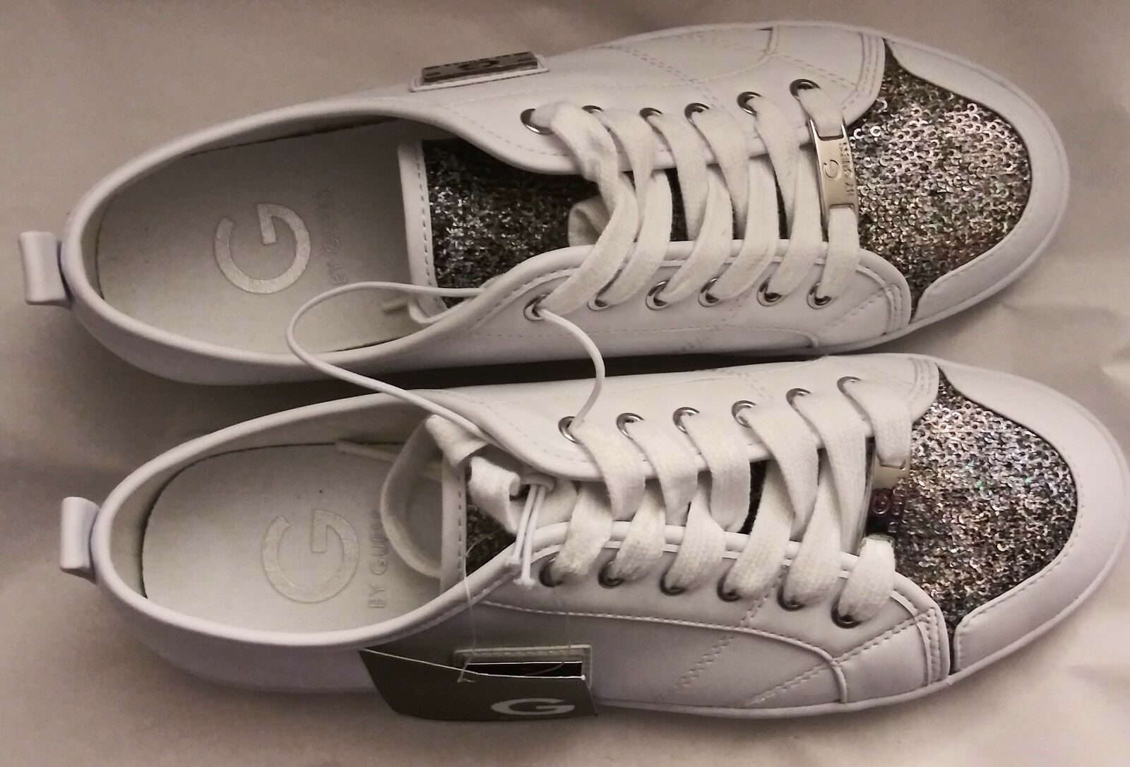 G by Guess Mallory 9 Lace Up Quilted Leather sole Glitter White Sneakers Size 9