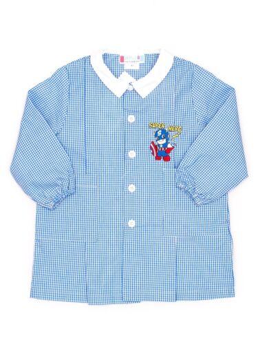 Grembiule asilo da bambino Andy/&Giò 90003 quadri bianco blu supereroe