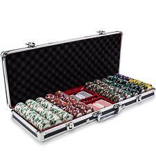 500 14G KNIGHTS CASINO CLAY POKER CHIPS SET MAHOGANY CASE CHOOSE DENOMINATIONS