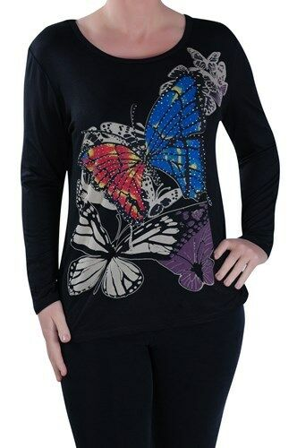 Womens Butterfly Print Long Sleeve Scoop Neck Hip Length Blouse Tunic Top