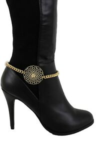 Women-Youth-Style-Boot-Bracelet-Gold-Metal-Chain-Classic-Bling-Shoe-Flower-Charm