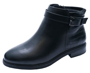 LADIES-BLACK-EXTRA-WIDE-FIT-EEE-EX-EVANS-CHELSEA-ANKLE-BIKER-BOOTS-SHOES-UK-4-10