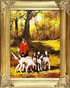 Painting-Oil-Frame-Baroque-Pictures-Hunting-G04465