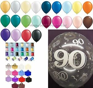 Any Colour 90th Birthday Party Helium Balloons Ribbons Weights
