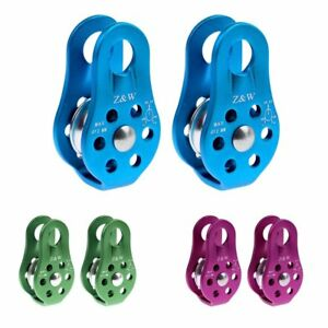2pcs Abseiling Rock Climbing Rappel Equipment Mobile Rope Pulley Gear 20KN