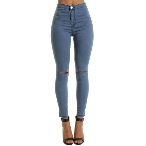 Nouveau Jeans Femme Taille Haute Crayon Stretch Casual Denim Skinny Pantalon XQ