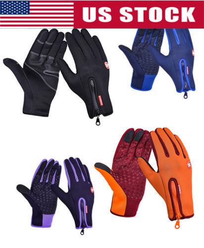 Men Boy Cycling Gloves Full Finger Winter Fleece Bike Bicycle Gloves Touchscreen
