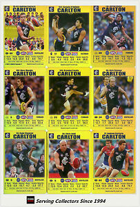 2008 AFL Teamcoach Trading Card Gold Team Set Carlton (12)