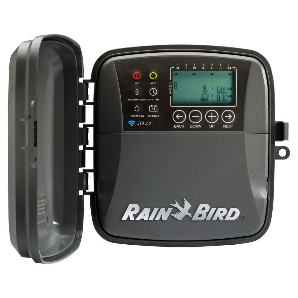 Digital Smart Sprinkler Controller 8-Zone Battery Back-up Surge Protection Gray
