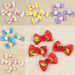 100PCS-Rose-Satin-Ribbon-Bows-Flower-Appliques-sew-Craft-Decor-hair-clip-making