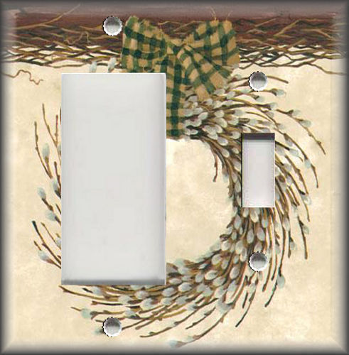 Metal Light Switch Plate Cover Country Willow Wreath Home Decor Country Decor