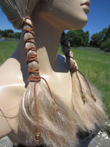 1-2 Hair Jewelry Leather Ties Wraps Ponytail Holder Black BOHO Bohemian Clothing