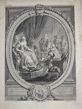 BELLE GRAVURE XVIII° SCENE REINE ELISABETH FEMME ROI HENRI IV FRANCE QUEVERDO