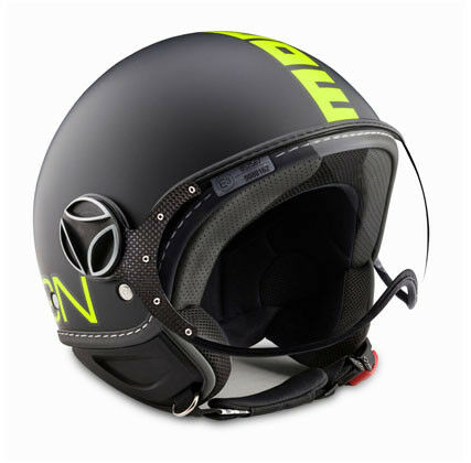 10010040237 MOMO FIGHTER CASCO CLÁSICO NEGRO CALCOMANÍA DE FROST AMARILLO FLUO C