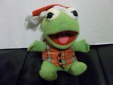 1987 Baby Kermit The Frog Plush Christmas and plaid shirt Stuffed doll