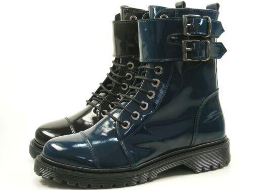 Bronx Brifka-Chunkyx 47009-N Schuhe Damen Boots Biker Lack Stiefeletten