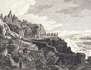 1790-1820-RARISIMO-MONTSERRAT-Grabado-Fantasioso