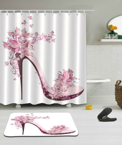 Butterfly Shoe Waterproof Fabric Shower Curtain Liner Bathroom Mat Set Hooks
