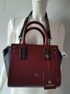 kostenloser Versand geringster Preis Preis bleibt stabil Details zu AIGNER Handtasche Valeria Burgundy / schwarz S Leder *NEU