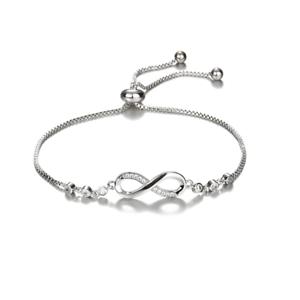 Regolabile-argento-amicizia-infinito-damigella-d-039-onore-Braccialetto-Cristallo-Cubico-Zircone