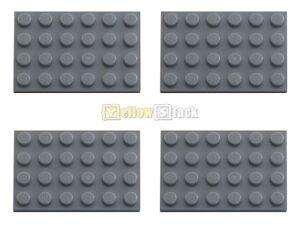 4x-LEGO-3032-4x6-Platte-neu-dunkelgrau-NEU