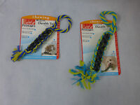 Dog Chew Tug Fetch Toy Tarter Remover Braided Rope & Rubber Can Hold Small Treat