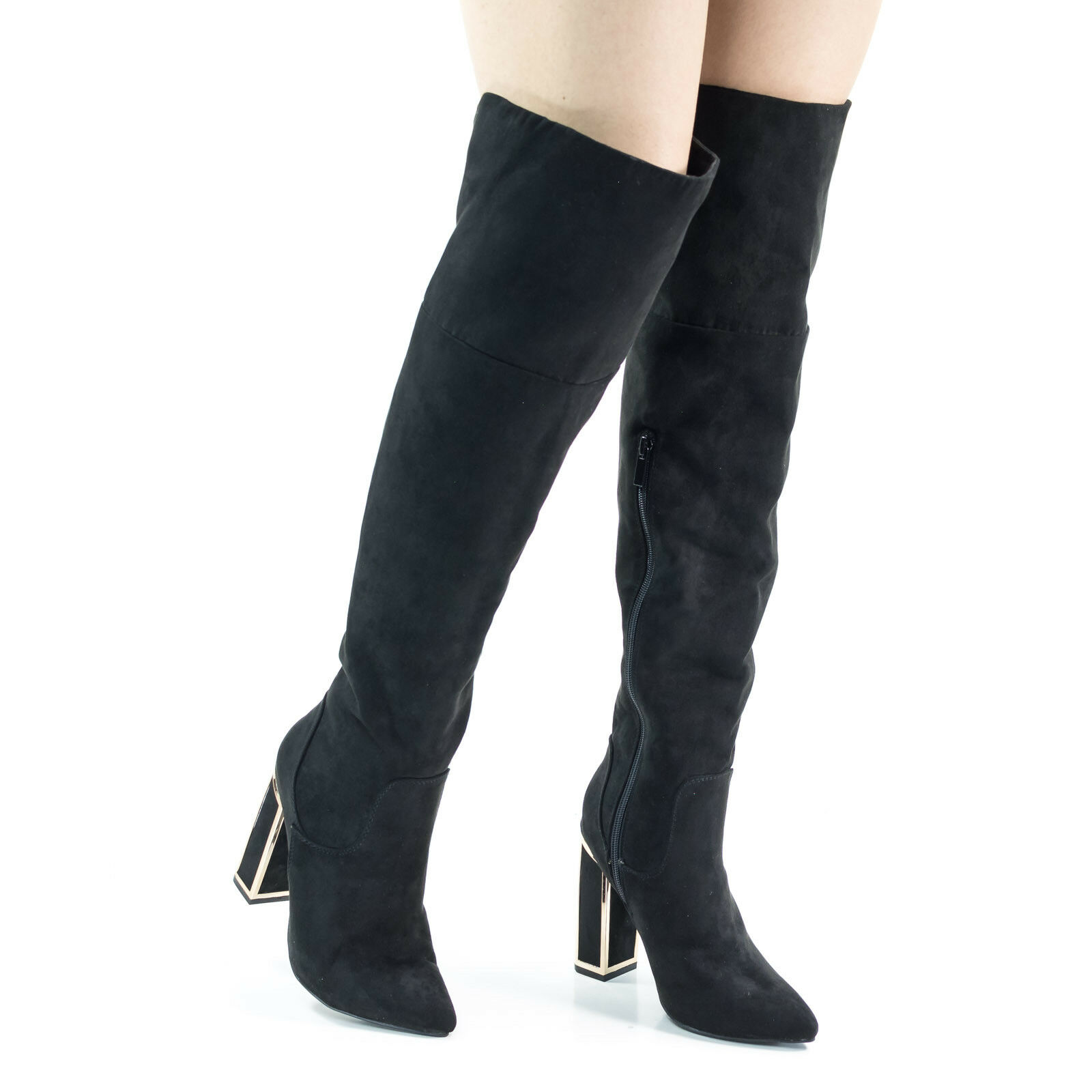 Illusion03 Over Knee Thigh High Metal Frame Frame Frame Chunky Block Heel w Faux Fur Lining 96e459