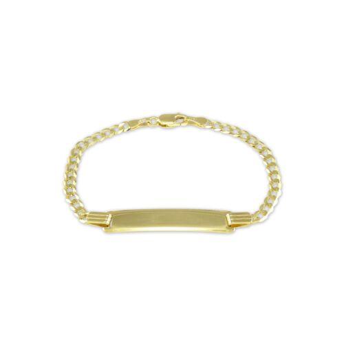 """Free Engraving Name Baby Kid 10K Yellow Gold Cuban ID Bracelet 3.5-4mm 5.5-6/"""""""
