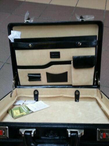 Briefcase . Genuine 100/%Italian Leather Executive Black//Brown Attache Case