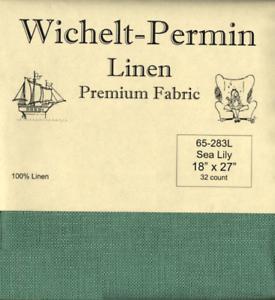 Wichelt-Permin-PREMIUM-LINEN-FABRIC-32-Count-Cross-Stitch-18-x-27-SEA-LILY