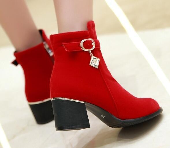 botas tacón de aguja zapatos de 6 tacón mujer 6 de rojo cómodo como piel 8732 d7938c