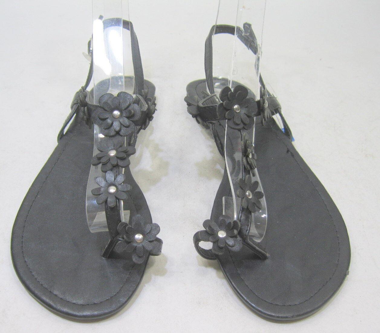 Summer Slingbacks Black Flower Womens Fashion Slingbacks Summer Sexy Sandals Size 6.5 634674