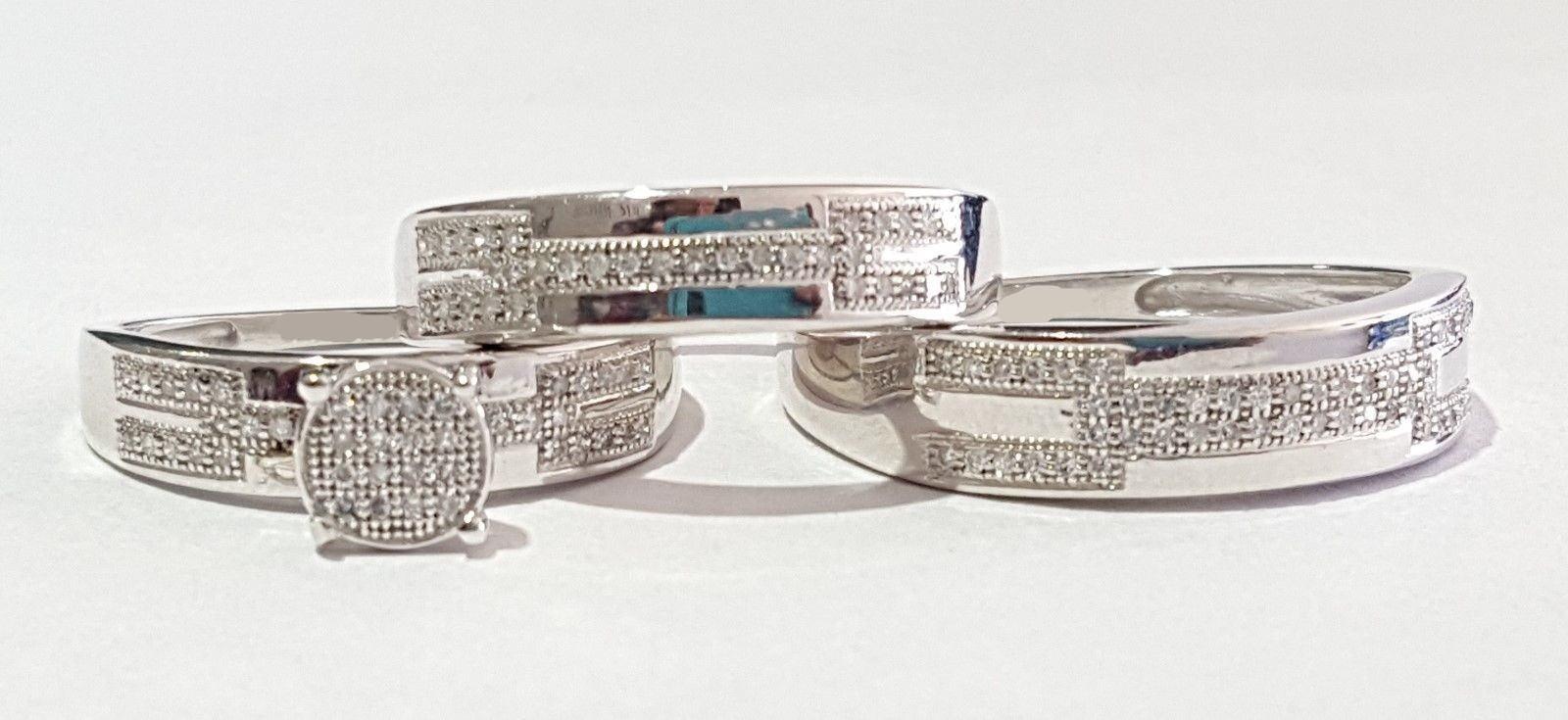 Men And Women Diamond Bridal Set White gold Finish Engagement Trio Wedding Ring