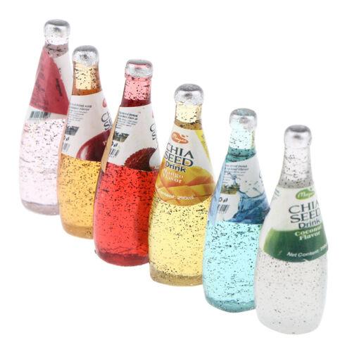 6er Set 1//12 Puppenhaus Miniatur Weinflasche 4pcs Mini Cocktail Weinregals