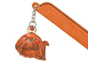 Shih tzu Leather dog Charm Bookmarker *VANCA* Made in Japan #61760