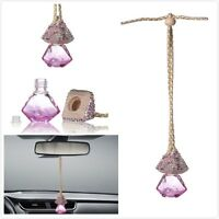Pink Car Bling Accessories Mirror Hanging Diamond Crystal Bottle For Girls Women