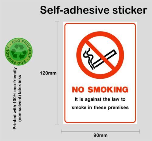 Printed self-adhesive vinyl sticker bus car taxi NO SMOKING on these premises