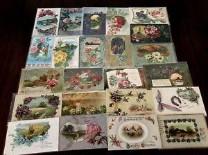 Lot-of-25-Pretty-Flowers-amp-Scenes-Vintage-Floral-Greetings-Postcards-b14
