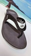 REEF FANNING FLIP FLOP WOMENS SANDAL BLACK/WHITE BOTTLE OPENER /SZ 9