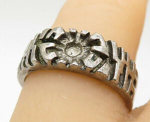 925-Sterling-Silver-Vintage-Abstract-Etched-Detail-Band-Ring-Sz-7-25-R9837