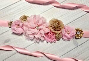 Pink//Champagne Maternity Sash Belt //Baby Showers Vintage Belt //Flower Girl Sash
