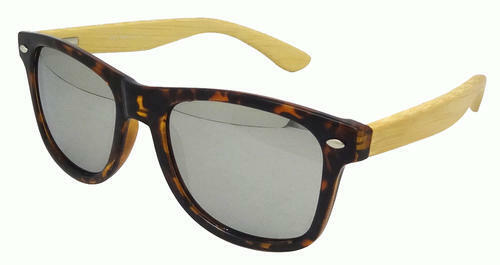 Mens Ladies Bamboo Wooden Arm Mirror Mirrored Festival Sunglasses Retro Tortoise
