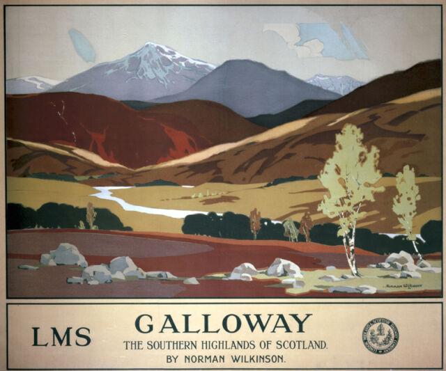 Vintage Rail advertising travel railway poster  A4 RE PRINT Galloway