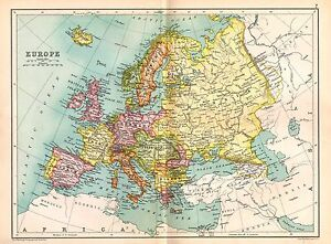 1909 Map Europe British Isles Spain Italy France Turkey Germany