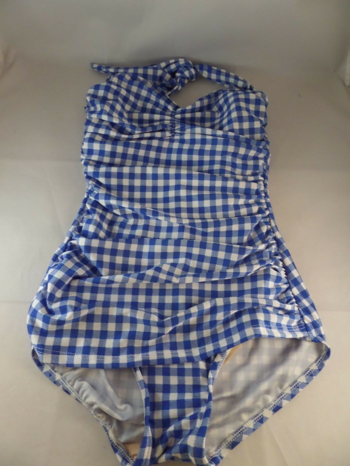 NWT Esther Williams Bathing Beauty bluee White Gingham Size 4 Cute Sexy